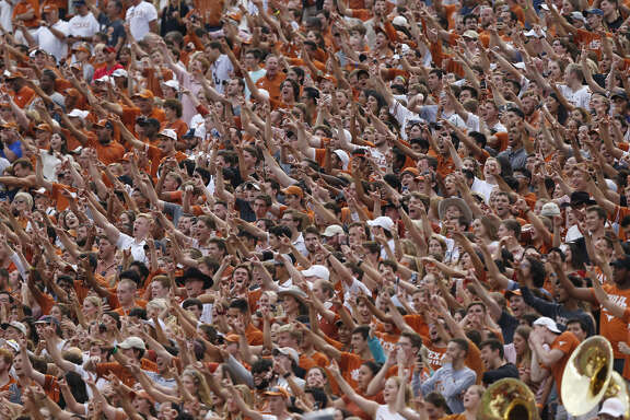 AUSTIN, TX - SEPTEMBER 22: Texas Longhorns fans cheer in the second half against the TCU Horned Frogs at Darrell K Royal-Texas Memorial Stadium on September 22, 2018 in Austin, Texas. (Photo by Tim Warner/Getty Images)