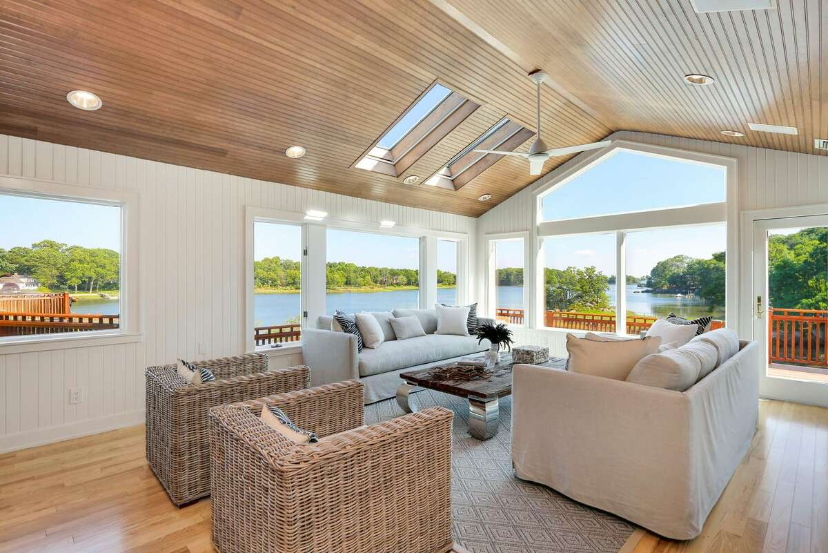 With views of Long Island Sound, the shingle-style home at 18 Oneida Court is situated on a 0.86-acre waterfront lot in the private, gated association of Indian Harbor. Among the perks of living here is 24/7 security guard service. The property is listed for $6.495 million.