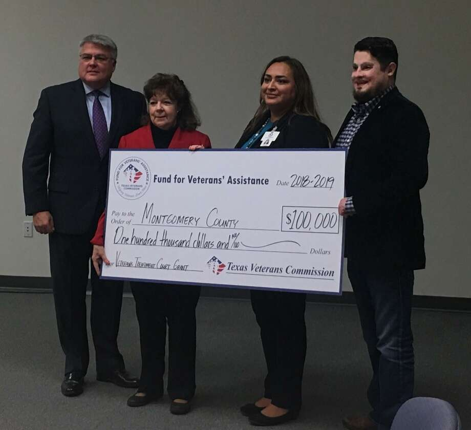 From left, Kevin Barber, Texas Veterans Commission secretary; Judge Kathleen Hamilton, Presiding Judge over Veteran Treatment Court and the 359th Judicial Court Judge; Josie Iracheta, Veteran Treatment Court Coordinator for VTC and Daniel Moran, TVC Vice Chairman; during the grant presentation. Photo: Courtesy Of Josie Iracheta