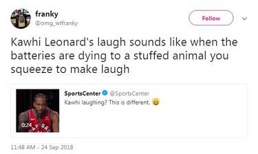 Twitter 'can't even' with Kawhi Leonard's laugh, bring the