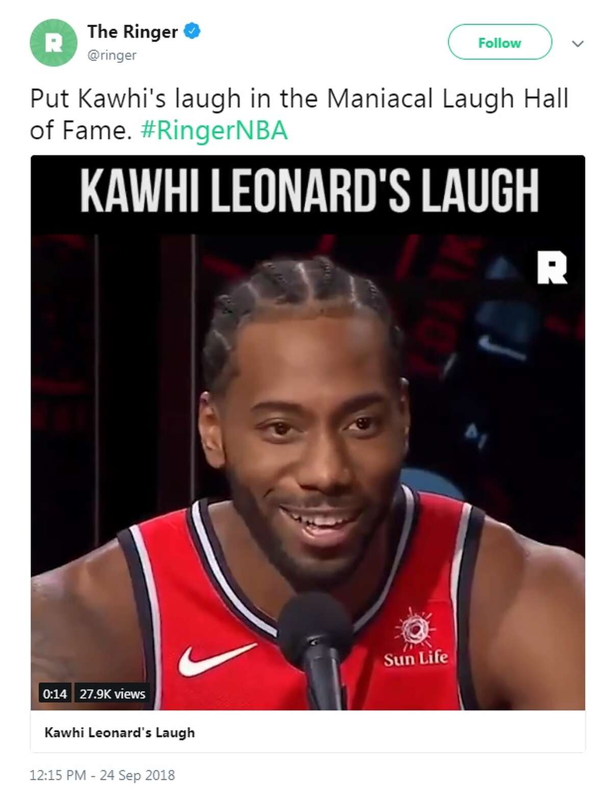 @ringer: Put Kawhi's laugh in the Maniacal Laugh Hall of Fame. #RingerNBA