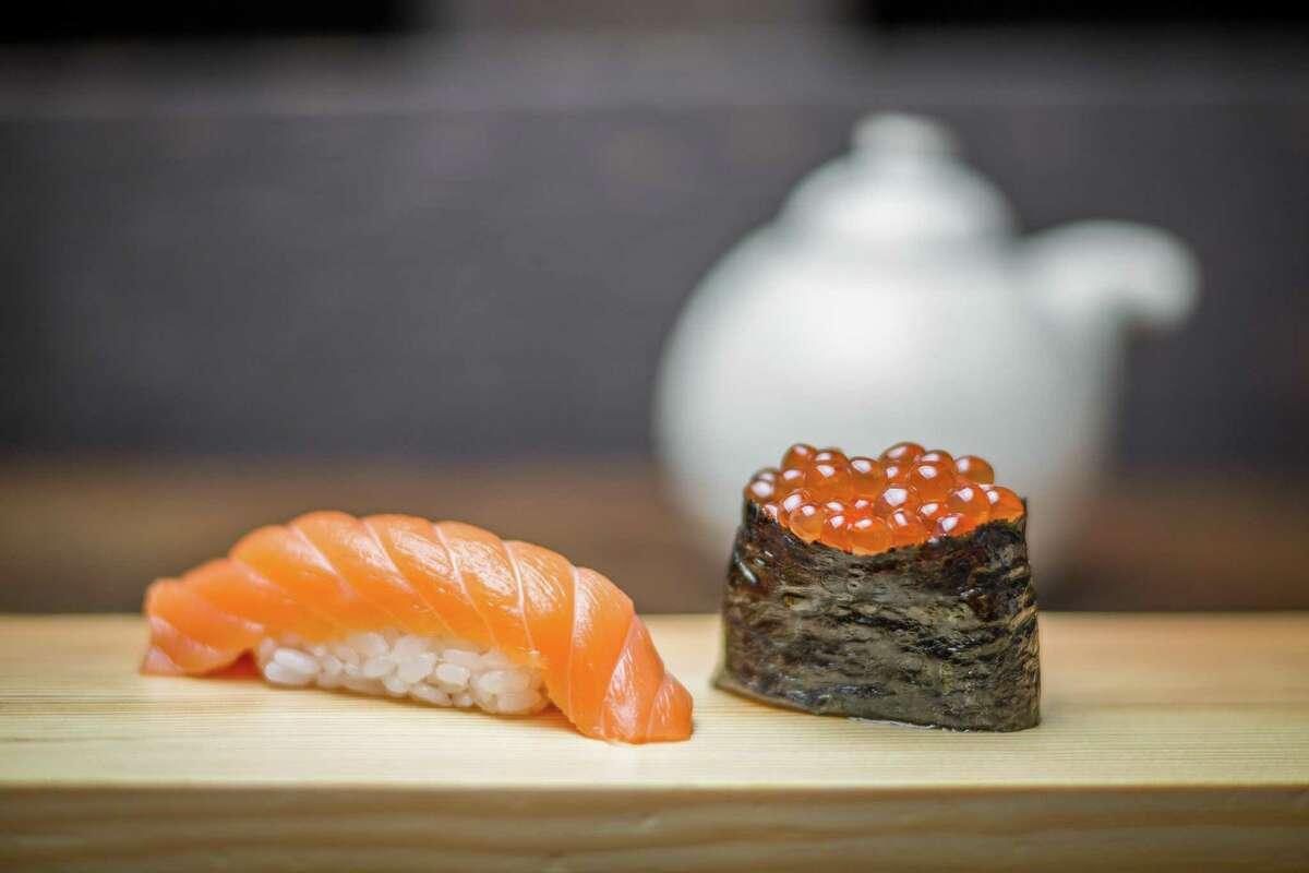 Alaskan Wild King Salmon nigiri and house-marinated salmon roe roll at Kata Robata