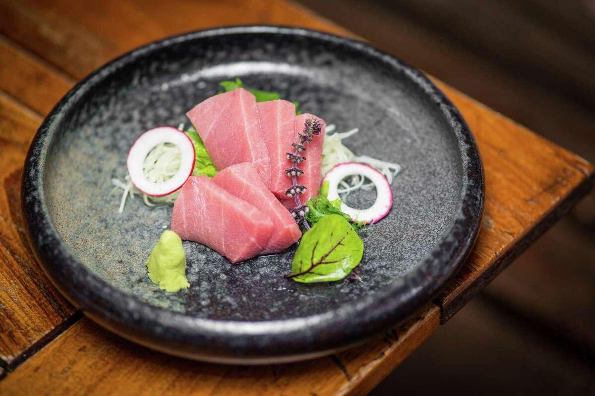 Hime-Maguro Toro (sustainable Japanese blue fin fatty tuna) sashimi at Kata Robata