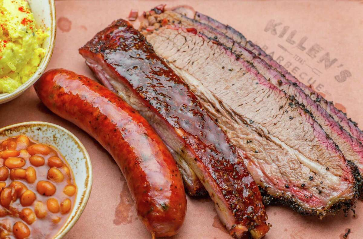 Three Meat Plate (brisket, sausage, pork rib) with beans and potato salad at Killen's Barbecue