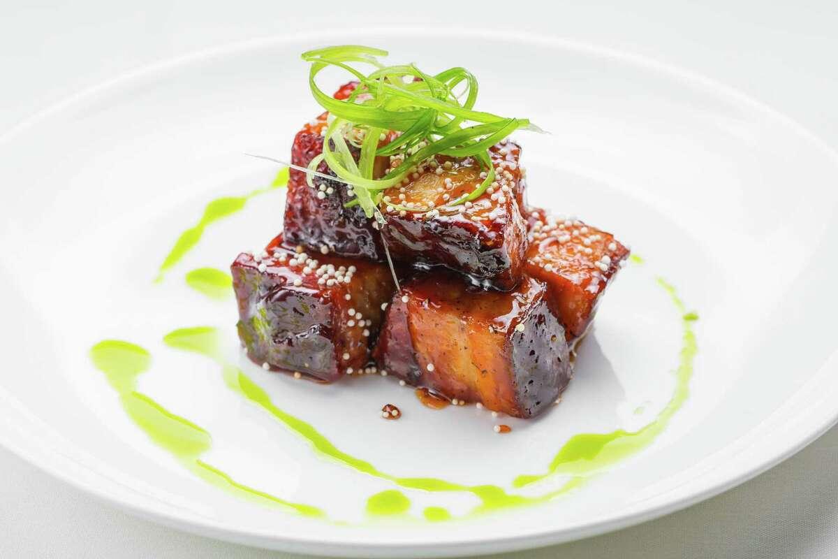 Mesquite-smoked Kurobuta pork belly with cherry-habanero BBQ glaze at Killen's Steakhouse