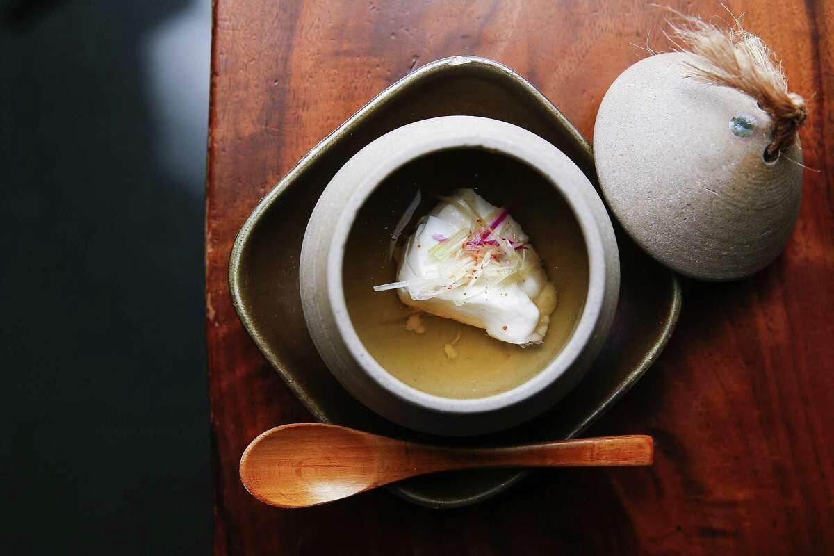 Madai dashi with ginger, myoga and lemon zest at MF Sushi