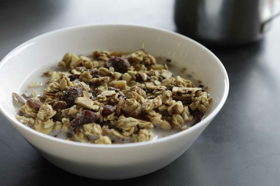 Vegan cereal with granola and tri-blend milk at Morningstar Photo: Melissa Phillip, Staff / Houston Chronicle / © 2017 Houston Chronicle