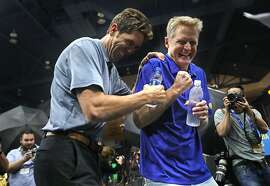 General manager Bob Myers and head coach Steve Kerr goof around during Golden State Warriors' Media Day in Oakland, Calif. on Monday, September 24, 2018.
