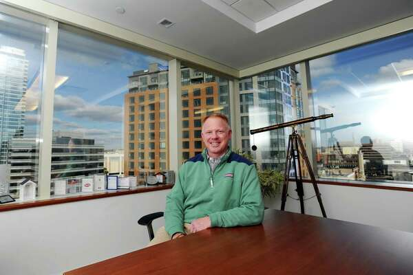Clearview Capital founder and managing partner James Andersen poses for a photo inside the Clearview offices at 1010 Washington Blvd., in downtown Stamford, Conn., on Feb. 8, 2018.