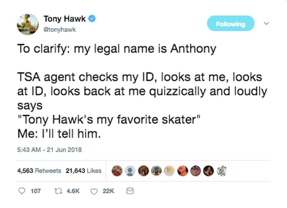 a2793eddf6e77 Tony Hawk shares his bizarre encounters with the public on Twitter. Photo:  Twitter