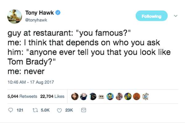 e610872b111f5 2of34Tony Hawk shares his bizarre encounters with the public on Twitter.Photo:  Twitter
