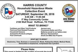 A flyer for the hazardous waste collection event at the IT May Community Center on Saturday, September 28