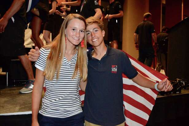 Houston area residents AnaClare Sole' and Nico Martin celebrate during a July trip to Corpus Christi for the 2018 Youth Sailing World Championships. They finished seventh overall, representing the United States in the Nacra 15 regatta.