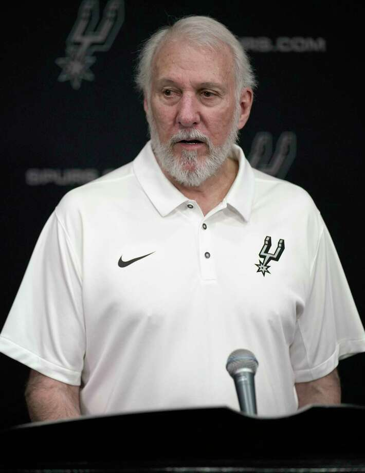 San Antonio Spurs NBA basketball head coach Gregg Popovich answers questions from reporters during media day at the Spurs practice facility in San Antonio, Monday, Sept. 24, 2018. (AP Photo/Darren Abate) Photo: Darren Abate, Associated Press / FR115 AP