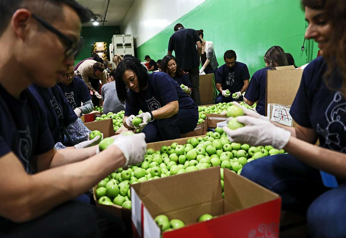 Salesforce employee Judy Villarosa, center, inspects Granny Smith Candy apples with her colleagues at the San Francisco - Marin Food Bank, located at 900 Pennsylvania Ave., in San Francisco, Calif., on Wednesday, September 19, 2018. Salesforce gives its employees a week of PTO for community service and on Wednesday, eleven Salesforce employees used two hours of that time to volunteer at the food bank.