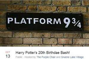 Harry Potter's 20th Birthdae Bash    Oct. 13 at 8 p.m. Gruene Lake Village Main Street District Hosted by The Purple Chair and Gruene Lake Village Main Street District