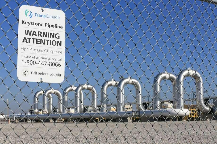 FILE - This Nov. 3, 2015, file photo shows the Keystone Steele City pumping station in Steele City, Neb. Photo: Nati Harnik, Associated Press