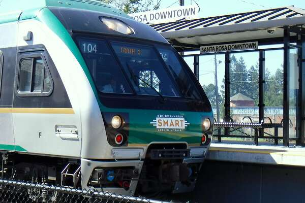 The SMART train pulls into the station in Santa Rosa, part of a 40-mile route from San Rafael to Santa Rosa where a bike trail is proposed to parallel much of the rail line