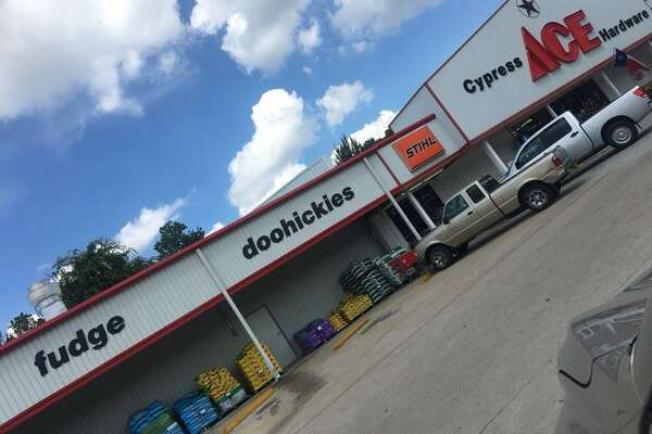 The signage in the front of the Cypress Ace Hardware & Feed store off Jones Road in Houston for doohickies has caught the attention of nearby residents and Facebook users.