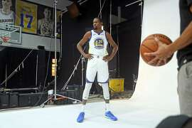 Kevin Durant during Golden State Warriors' Media Day in Oakland, Calif. on Monday, September 24, 2018.
