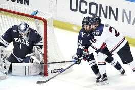 Yale's Sam Tucker (1) platooned with fellow goaltender Corbin Kaczperski over the final 19 games last season.