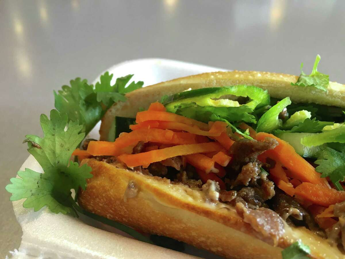 Chopped rib-eye banh mi with housemade pate at Roostar Vietnamese Grill