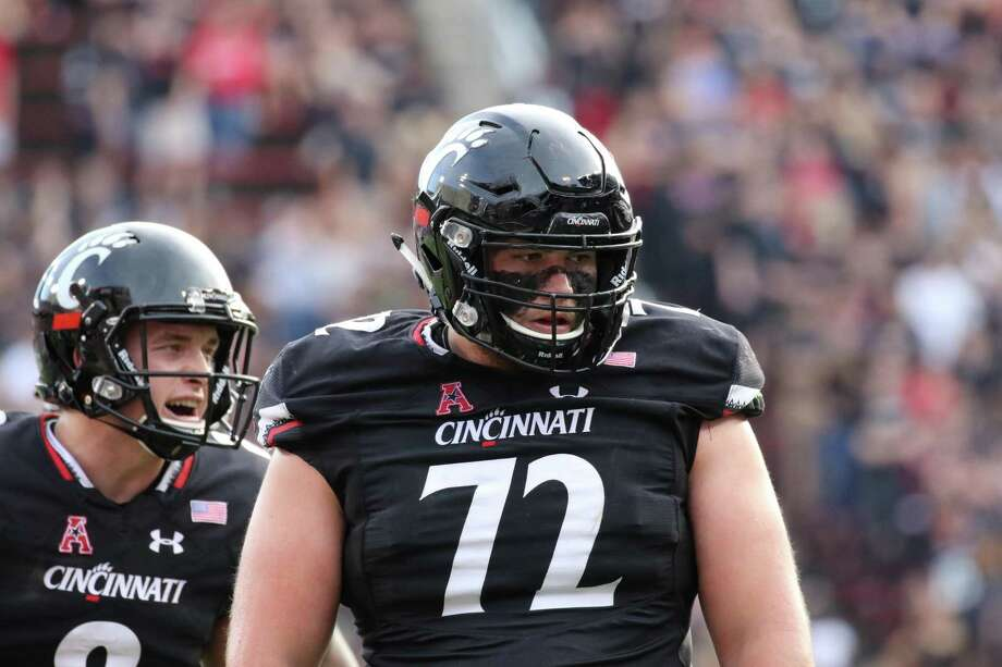 Garrett Campbell, in his sixth year of eligibility, has anchored the Bearcats' line as the starting center this season. Photo: Carl Schmid / Cincinnati Athletics