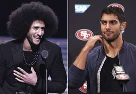 Colin Kaepernick (left) receives the SI Muhammad Ali Legacy Award during SPORTS ILLUSTRATED 2017 Sportsperson of the Year Show on December 5, 2017 at Barclays Center in New York City. (Slaven Vlasic/Getty Images for Sports Illustrated) ; San Francisco 49ers quarterback Jimmy Garoppolo during a news conference after an NFL football game against the Detroit Lions in Santa Clara, Calif., Sunday, Sept. 16, 2018. San Francisco won the game 30-27. (Ben Margot / Associated Press)