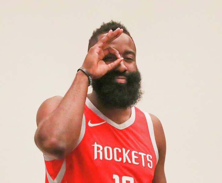 Houston Rockets guard James Harden (13) has his photo taken during their Media Day at the Post Oak Hotel Monday, Sept. 24, 2018, in Houston.
