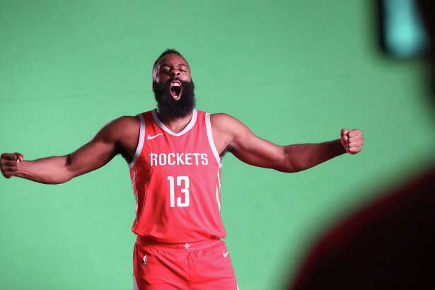 Houston Rockets guard James Harden (13) performs during a Media Day video shoot at the Post Oak Hotel Monday, Sept. 24, 2018, in Houston.