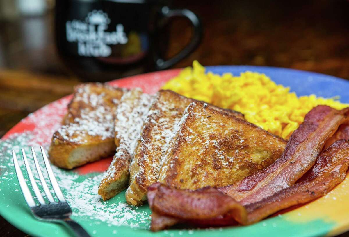 French toast with scrambled eggs and bacon at The Breakfast Klub