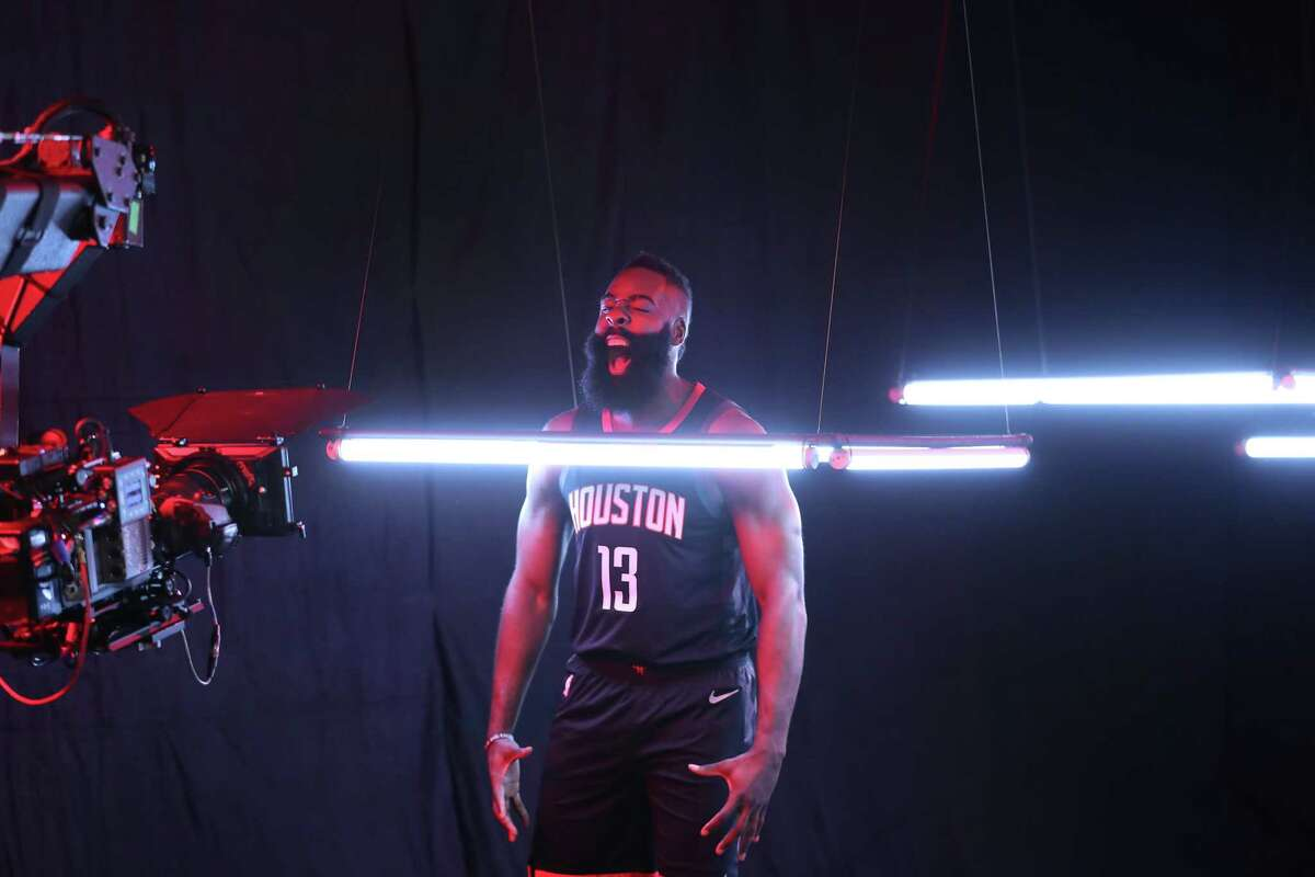 Houston Rockets guard James Harden (13) yells during a Media Day video shoot at the Post Oak Hotel Monday, Sept. 24, 2018, in Houston.