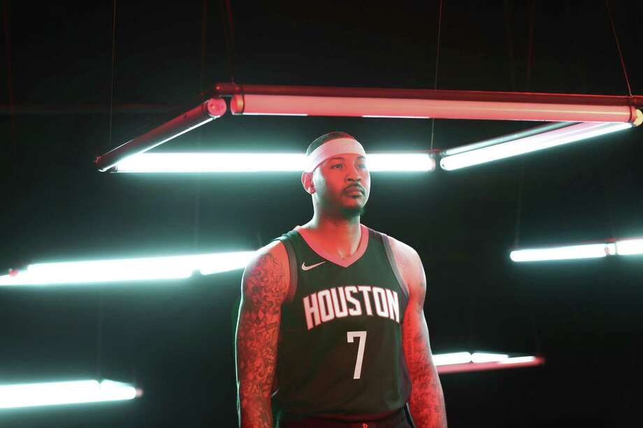 Houston Rockets forward Carmelo Anthony (7) has a video taken during their Media Day at the Post Oak Hotel Monday, Sept. 24, 2018, in Houston. Photo: Steve Gonzales, Staff Photographer / © 2018 Houston Chronicle