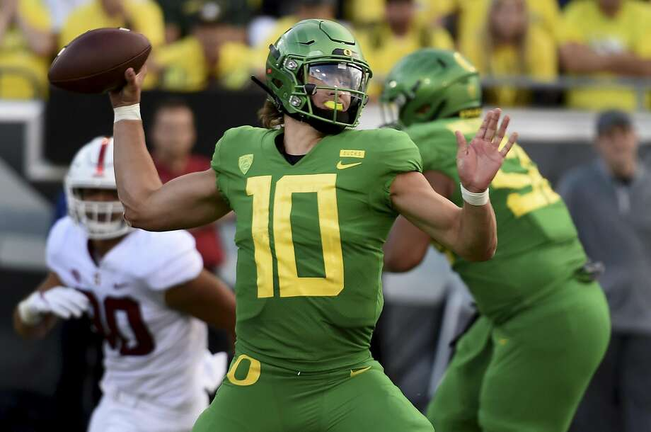 Oregon's Justin Herbert was sensational against Stanford, at least until overtime. The 6-6, 237-pound junior is widely seen as the top quarterback prospect in the nation. Photo: Steve Dykes / Getty Images