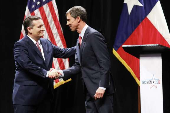Sen. Ted Cruz (R-Texas) and Rep. Beto O'ourke (D-Texas) shake hands after their debate at Southern Methodist University on September 21, 2018 in Dallas.