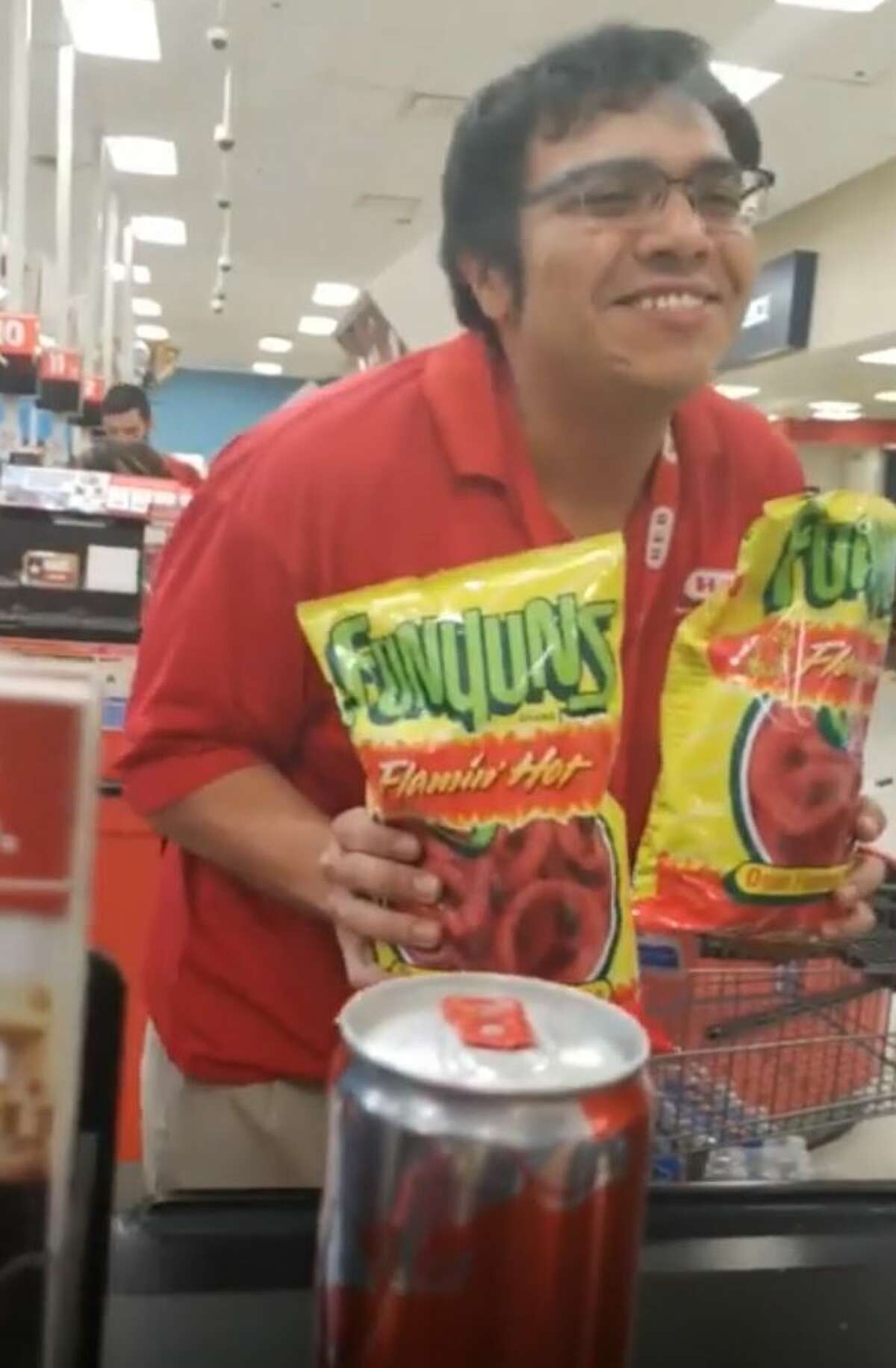 A San Antonio H-E-B cashier has garnered internet fame after a customer posted a video of his sales pitch, which included an original rap.