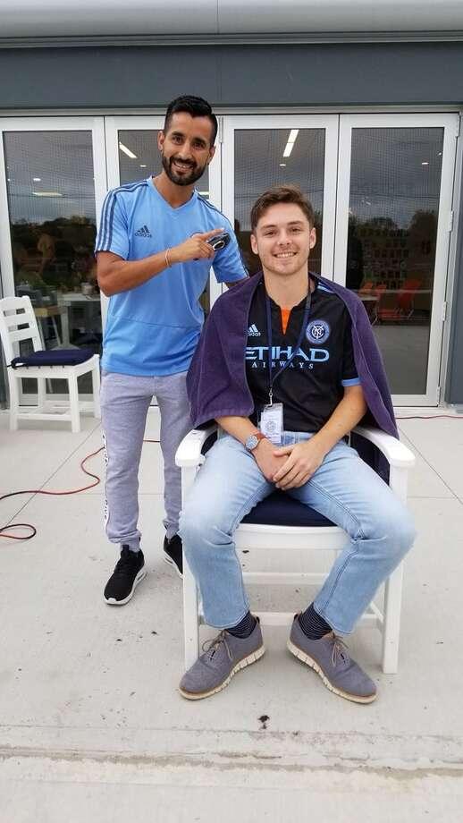 New York City F.C. midfielder Maxi Moralez poses with fan Matt DePrima. Photo: Matt DePrima / Contributed Photo