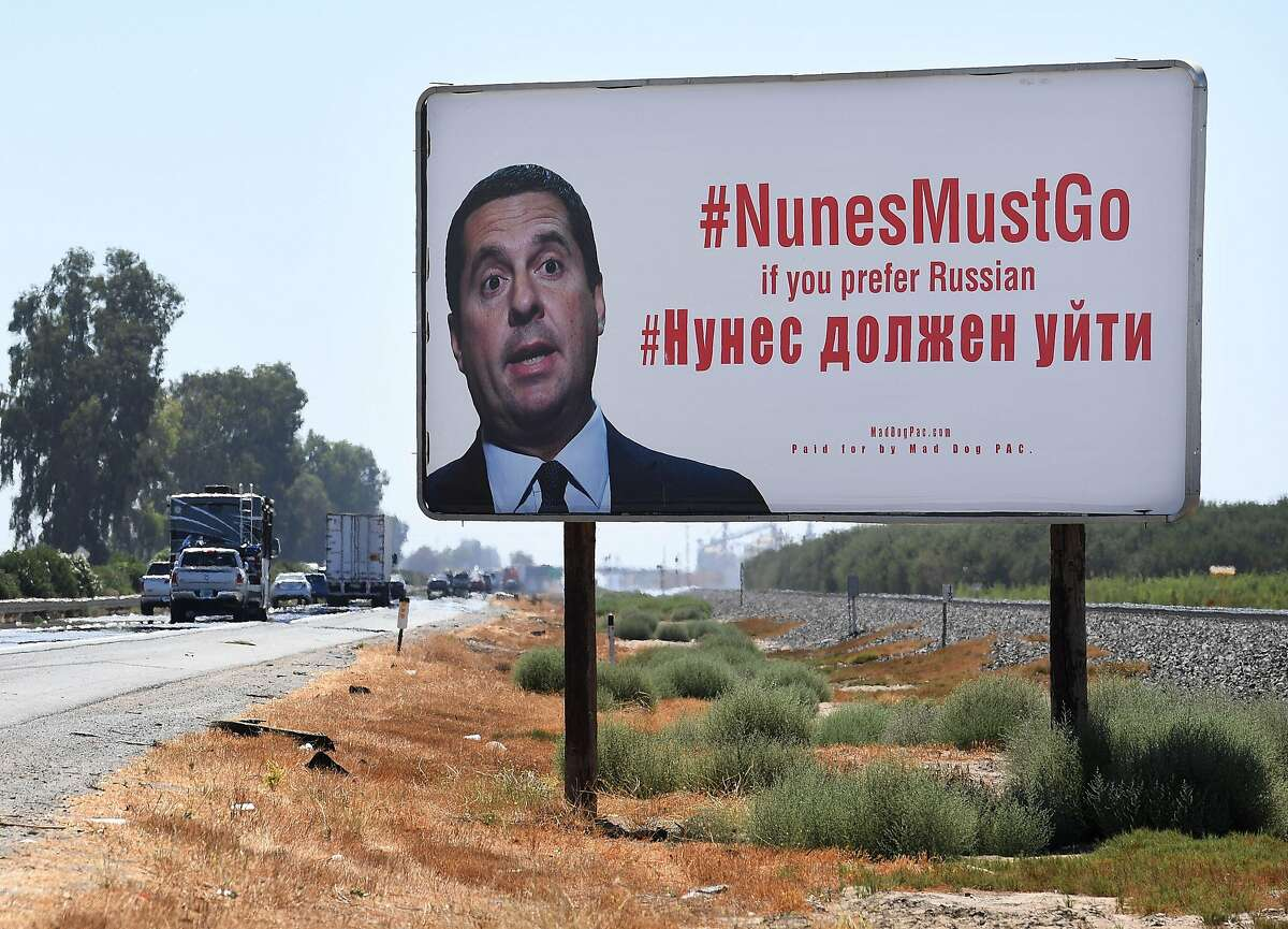 A billboard expressing opposition to local Republican incumbent Devin Nunes, who is up for re-election in the November mid-term elections, is seen on highway 99 which runs through his hometown of Tulare, California on September 9, 2018. - Nunes, the House Intelligence Committee chairman, recently gained national attention over the committees investigation into Russian election meddling. (Photo by Mark RALSTON / AFP)MARK RALSTON/AFP/Getty Images