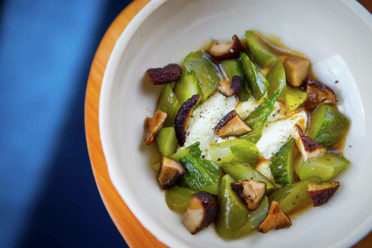 Chilled poached Persian cucumbers with ricotta, grilled shiitake mushrooms and almonds at Theodore Rex