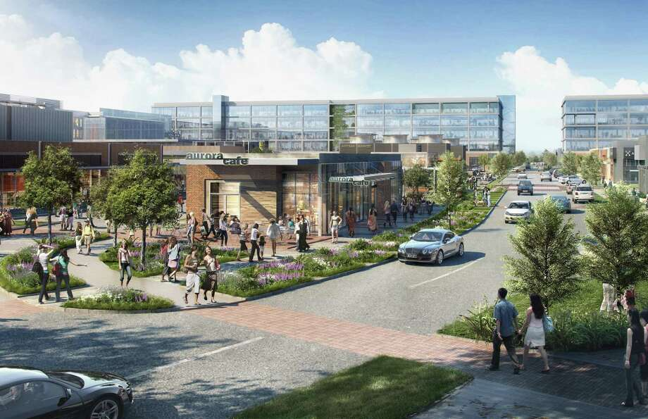 A rendering of the Grid, a mixed-use development under way on the former Texas Instruments campus in Stafford. Photo: Courtesy Of StreetLevel Investments