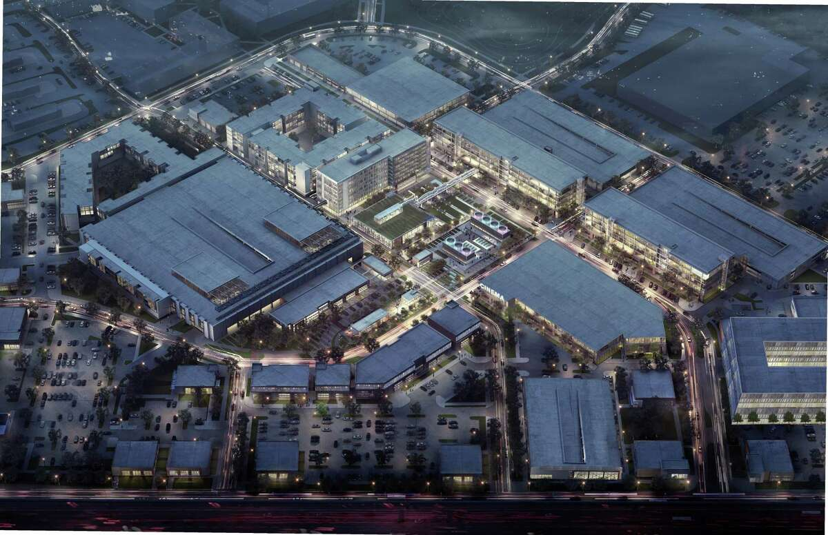 A rendering of the Grid, a mixed-use development under way on the former Texas Instruments campus in Stafford.