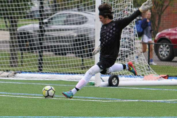Darien keeper Aaron Sears lines up a goal-kick during an FCIAC boys soccer match between Darien and Danbury on Monday, Sept. 24, 2018 at Darien High School in Darien, Conn. The teams played to a 1-1 draw.
