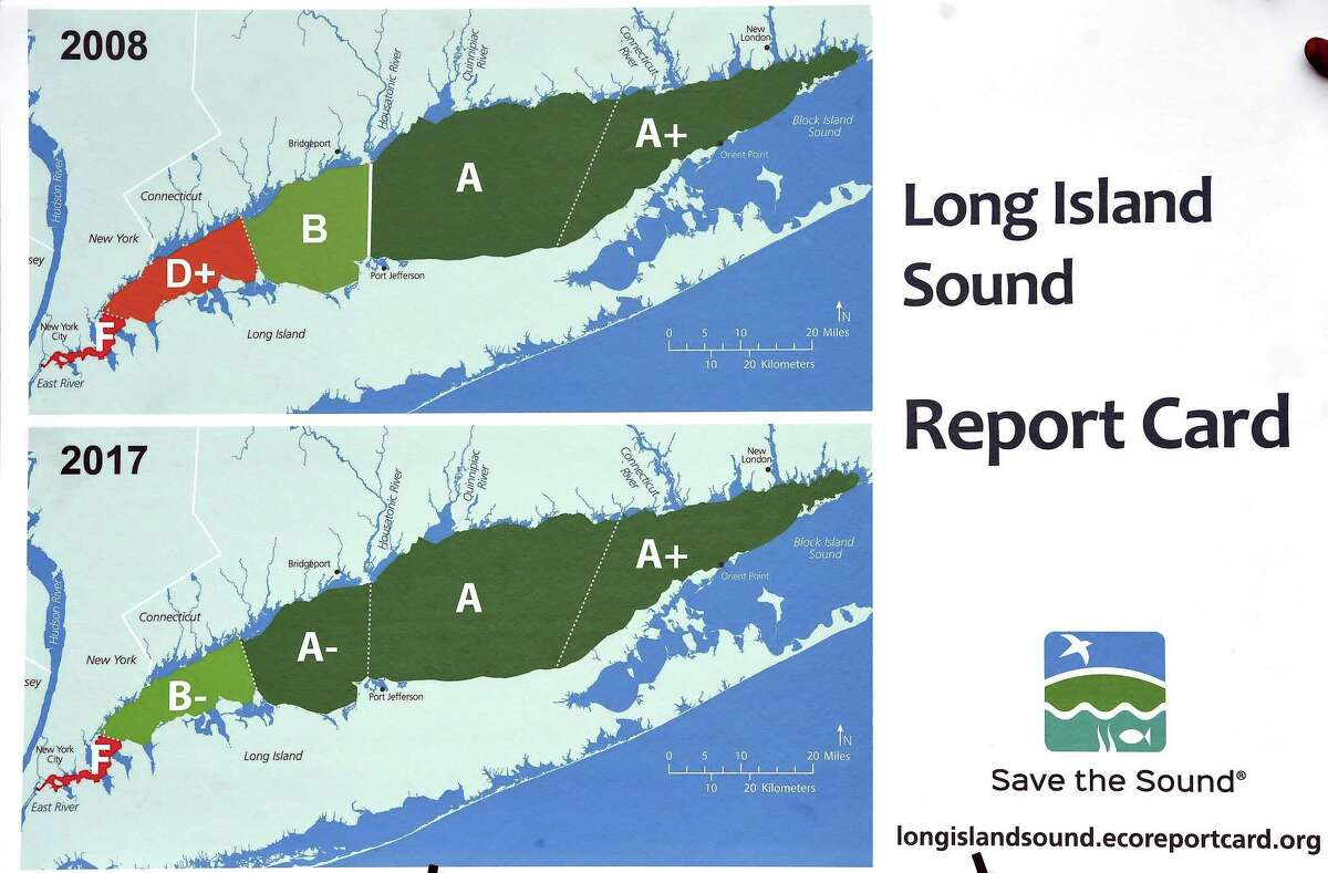 Long Island Sound report cards displayed at a press conference at the Long Wharf Nature Preserve in New Haven on Monday.