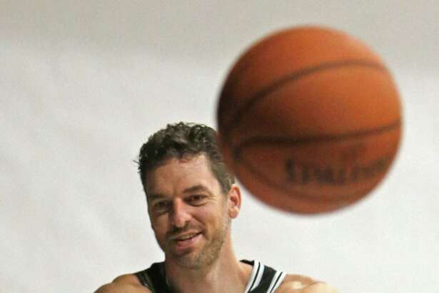 Pau Gasol goes thru media day portraits. Spurs Media Day at Spurs practice facility on Monday September 23, 2018.