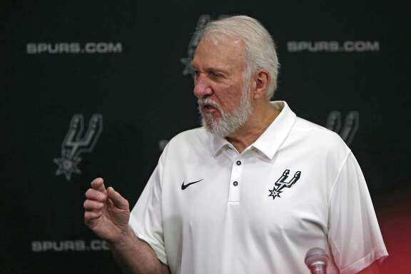 Head Coach Gregg Popovich meets with media. Spurs Media Day at Spurs practice facility on Monday September 23, 2018.