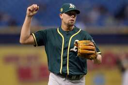 ST. PETERSBURG, FL - SEPTEMBER 14: Blake Treinen #39 of the Oakland Athletics celebrates at the end of the tenth inning of a baseball game against the Tampa Bay Rays at Tropicana Field on September 14, 2018 in St. Petersburg, Florida. (Photo by Mike Carlson/Getty Images)