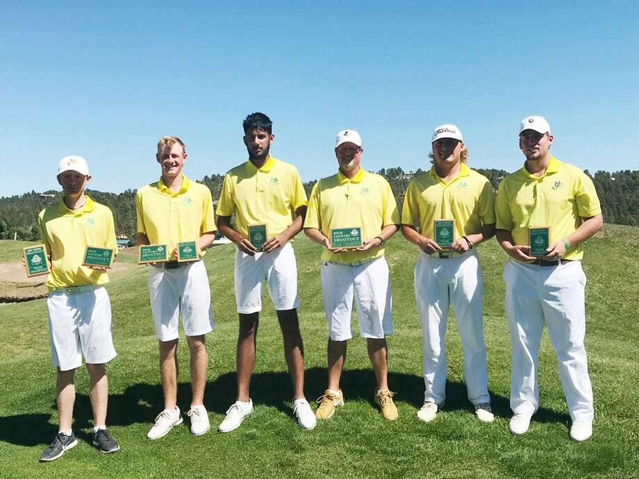 The Midland College men's golf team, left to right, George Saunders, Callum Bruce, Aadam Syed, coach Walt Williams, Luke Cooley and Alex Motes pose after winning the High Country Shootout in Ruidoso, N.M., on Monday. Photo: Courtesy Photo