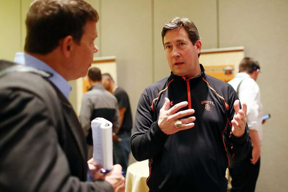 Bobby Evans, general manager of the San Francisco Giants, speaks to the media during 2017 Cactus League Media Availability on Tuesday, February 21, 2017 at the Arizona Biltmore Hotel in Phoenix, Arizona. Photo: Alex Trautwig / MLB Photos Via Getty Images