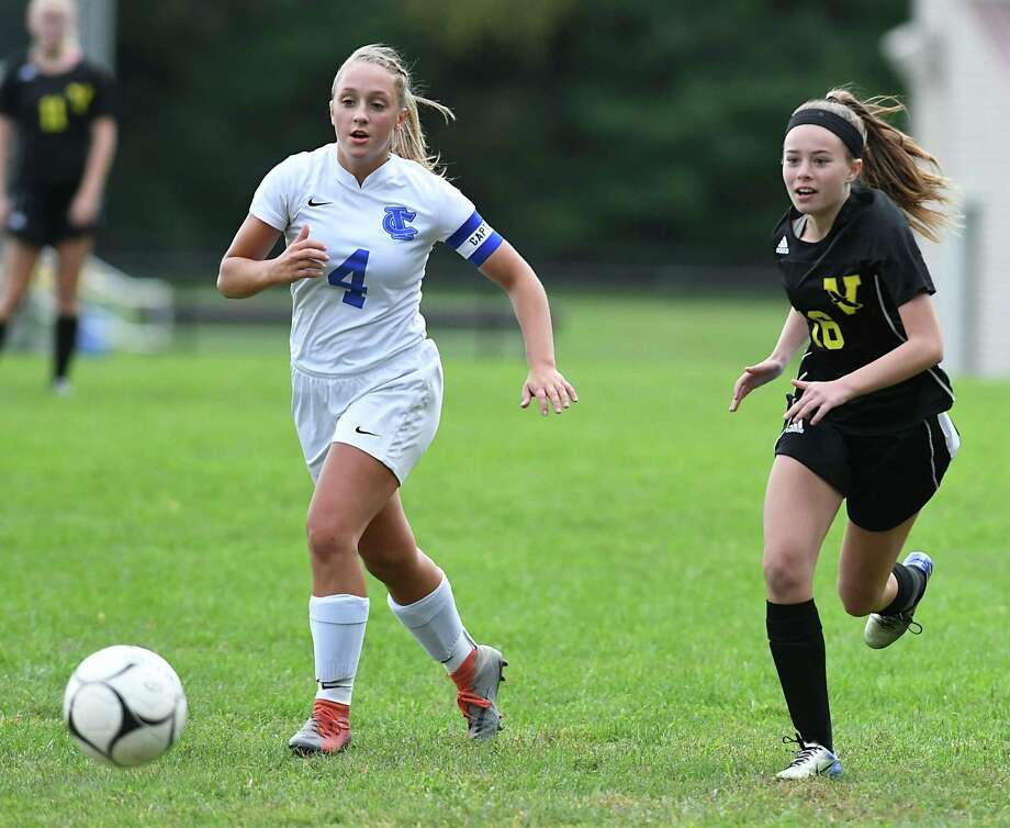 Ichabod Crane's Riley Paul, left, and Voorheesville's Emma Farrell chase the ball during a soccer game on Monday, Sept. 24, 2018 in Voorheesville, N.Y. (Lori Van Buren/Times Union) Photo: Lori Van Buren / 20044916A