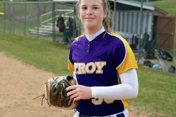 Troy catcher Maddie Rifenberick takes the field for Friday's game against Columbia High April 20, 2018 in East Greenbush, NY. (John Carl D'Annibale/Times Union)